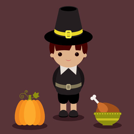 Thanksgiving pilgrim with pumpkin and roasted turkey