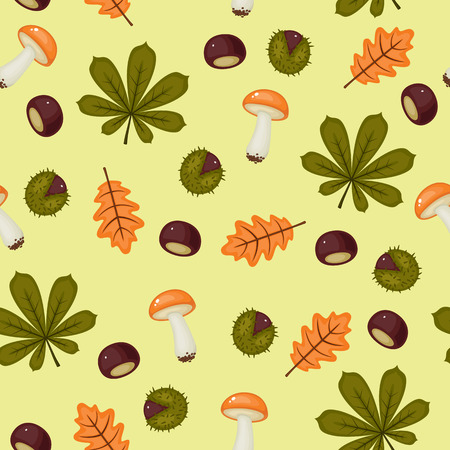Seamless chestnuts wallpaper with leaves and mushrooms
