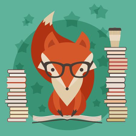 교육 개념입니다. 많은 책이있는 안경의 여우 일러스트
