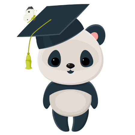 cute panda: Cute isolated over white panda in a graduation cap Illustration