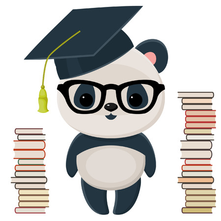 Cute isolated over white panda in a graduation cap, in glasses, with many books Vector