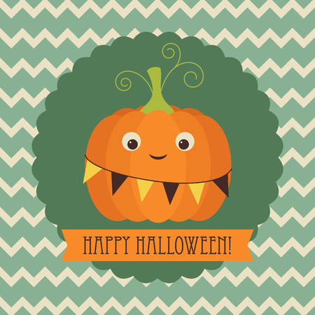 Happy Halloween greeting card. Cute pumpkin on retro background with banner