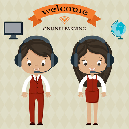 headphones woman: Online learning welcome board. Man and woman in headphones. Welcome banner. Computer and globe icons.
