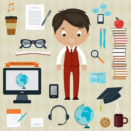 Education and learning concept. Boy with icons for education, online education, online learning Vector