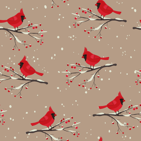 Cardinal bird beautiful winter seamless. Cardinal sitting on the snowy branch with berries. Illustration
