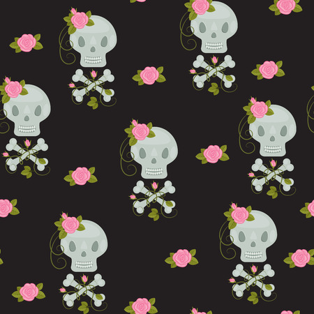 Scull with roses and bones seamless wallpaper Vector