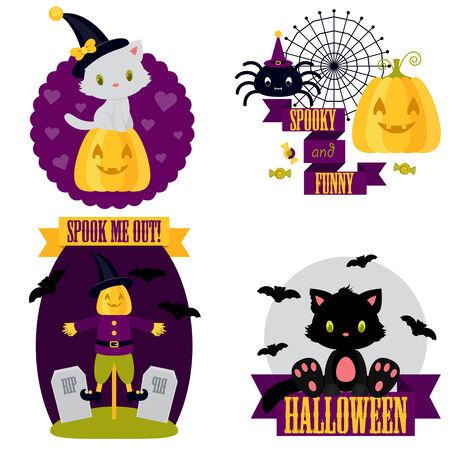 Halloween cute clip-art set. White and black kitten, spider, scarecrow, pumpkin, bat Vector
