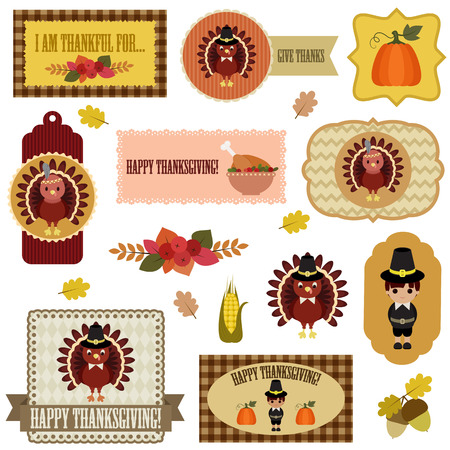 Thanksgiving clip-art set. Vector tags, labels and badges with Thanksgiving symbols. Isolated over white.  Eps 10 Vector