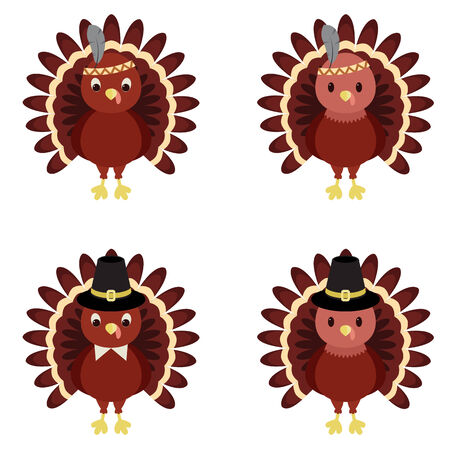 funny turkey: Vector set of Thanksgiving turkeys