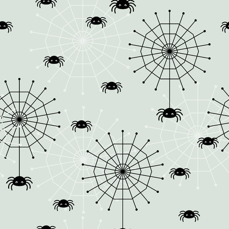 halloween spider: Seamless wallpaper with spiders and spider webs