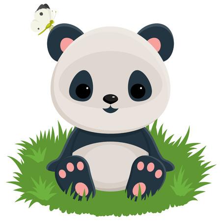 아기 팬더 귀에 나비와 잔디에 앉아