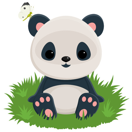 Baby panda sitting on a grass with a butterfly on the ear