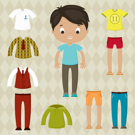 Dress up game. Boy paper doll. Clothes set. Vector
