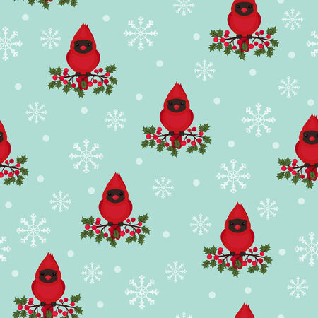 holly berry: Seamless wallpaper cardinal bird on a holly berry branch Illustration