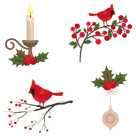 Beautiful Christmas icons set isolated over white Vector