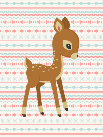 Baby deer vector pattern card