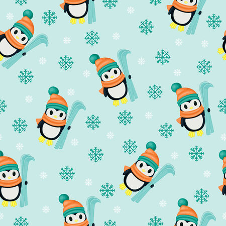 Winter seamless wallpaper with penguins Vector