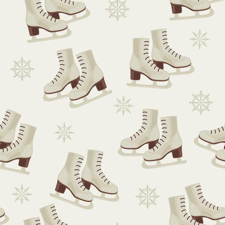 Vintage winter wallpaper with skates