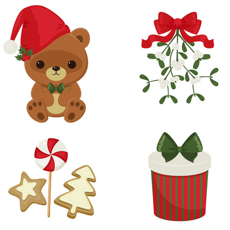christmas cookie: Christmas and New Year festive icons over white background. Illustration