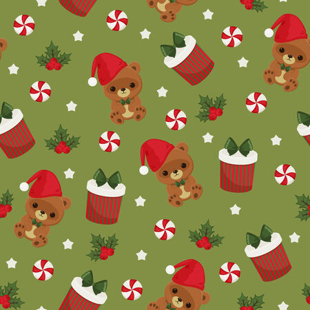 candy box: Christmas teddy bear, gift box and candy green seamless wallpaper