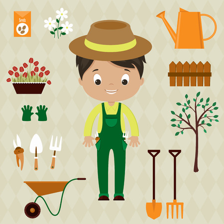 Gardener man with garden tools, equipment and flowers. Cute cartoon vector illustration.
