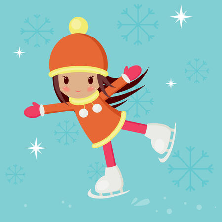 rink: Little girl in warm clothes skating on a rink