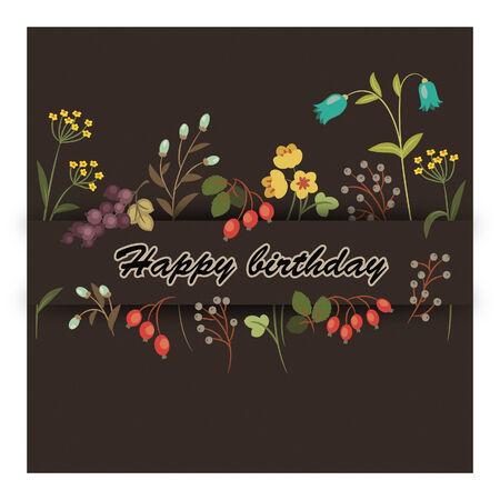 eps 10: Vintage birthday greeting floral card. Eps 10