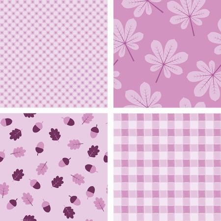 Vier paars naadloos geometrisch en bloemenbehang Stock Illustratie