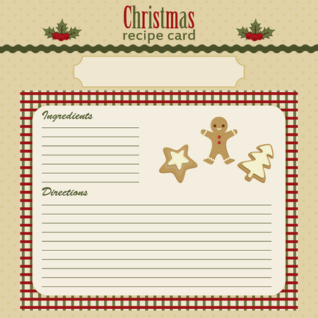 Christmas baking festive recipe card. Eps 10 向量圖像
