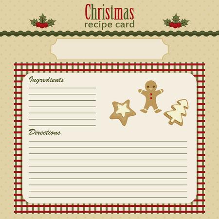 festive: Christmas baking festive recipe card. Eps 10 Illustration