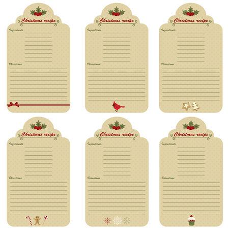 Six Christmas festive recipe cards Ilustracja