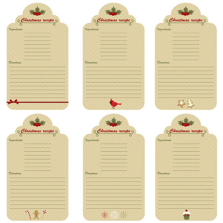 Six Christmas festive recipe cards Illustration