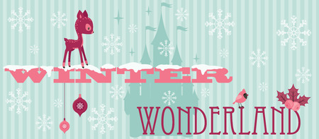 Winter wonderland snowy decorated text with deer, castle silhouette and snowflakes
