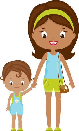 Mom and child vector illustration. Happy family. Single mom with child Reklamní fotografie - 35127149