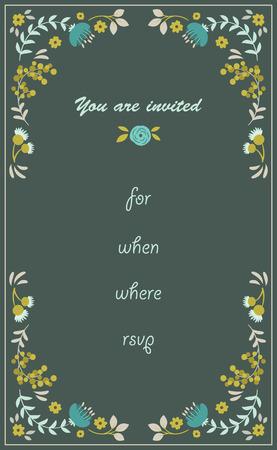 rsvp: Floral hand drawn invitation with text. RSVP Illustration