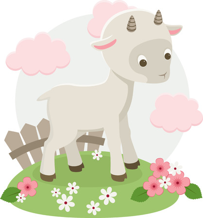baby goat: Goat vector illustration. Goat staying on a floral meadow
