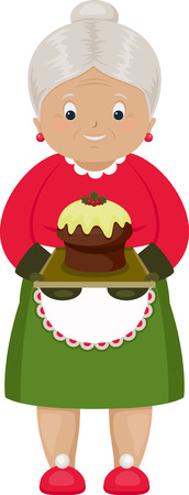 Smiling grandmother with baked Christmas cake. Isolated over white