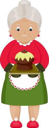 christmas cake: Smiling grandmother with baked Christmas cake. Isolated over white