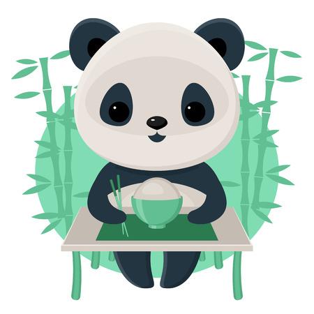 Panda eating rice using chopsticks