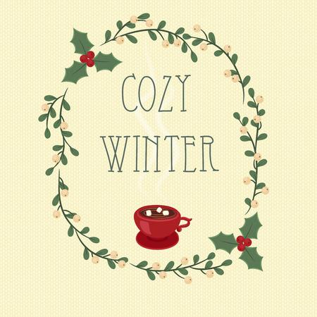 muerdago: Acogedor invierno. Mano texto letras en un mu�rdago y el acebo bayas corona.