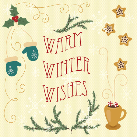wishes: Warm winter wishes. Hand drawn greeting card.