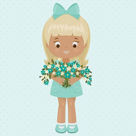 hair bow: Pretty and happy little girl in a blue dress with bouquet of forget-me-not.
