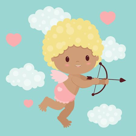 angel alone: Valentines Day vector illustration. Little cupid with bow and arrow flying in the sky