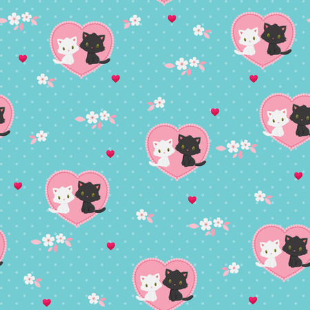 Seamless Valentines Day pattern. Black and white kittens in love. Ilustrace