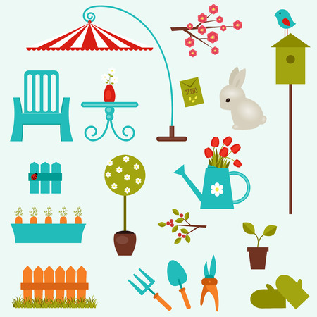 Isolated garden icons. Vector clip-art
