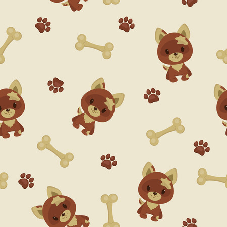Seamless pattern. Cartoon dog, paw trace and bone