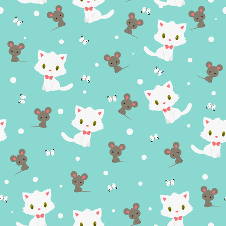 White kitten and gray mouse seamless pattern Illustration