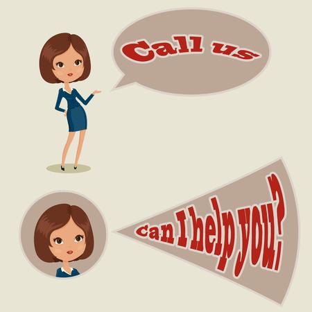 Call center woman operator. Vector illustration