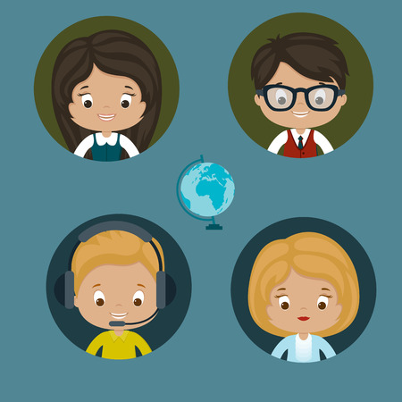 Help center women and men vector icons. Eps 10.