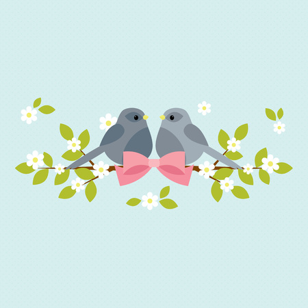 Two birds sitting on blooming branches with pink bow.